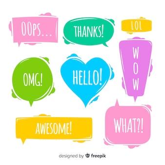 Kleurrijke tekstballonnen met verschillende uitdrukkingen