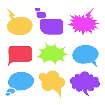 Kleurrijke tekstballonnenillustratie die het symbool van de meningsdialoog uitdrukt
