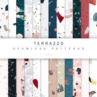 Kleurrijke terrazzo naadloze patroon posters vector set