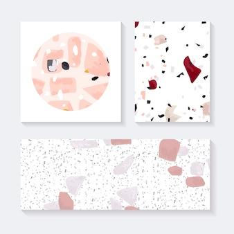 Kleurrijke terrazzo naadloze patroon tags vector set