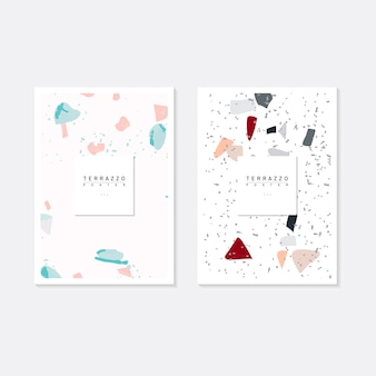 Kleurrijke terrazzo-patroonaffiches vectorreeks