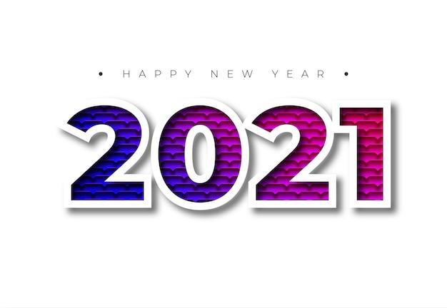 Kleurrijke textuur gelukkig nieuwjaar 2021 met schaduw