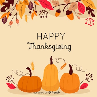 Kleurrijke thanksgiving achtergrond in plat ontwerp
