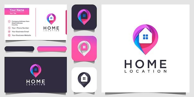 Kleurrijke thuislocatie logo design inspiratie. logo ontwerp en visitekaartje