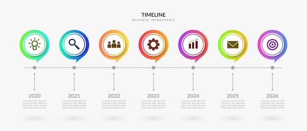 Kleurrijke tijdlijn infographic elementen, bedrijfsprocesgrafiek met veelvoudige stap