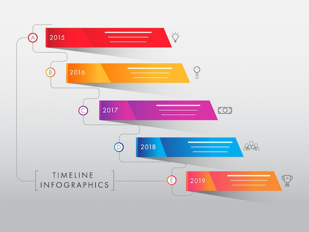 Kleurrijke tijdlijn infographic elementen op grijze achtergrond. yearl