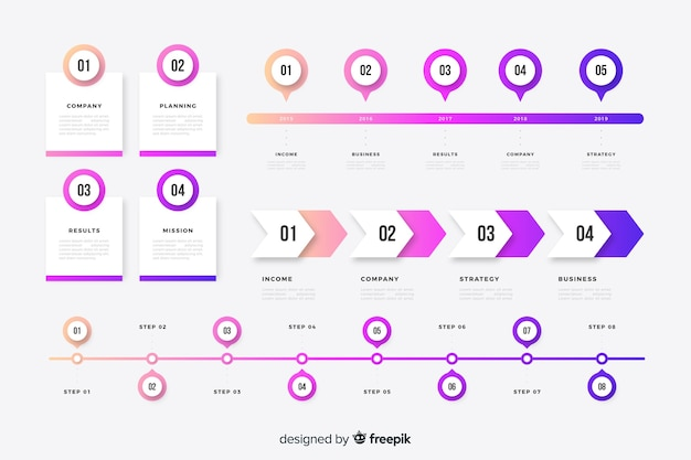 Kleurrijke tijdlijn infographic elementen