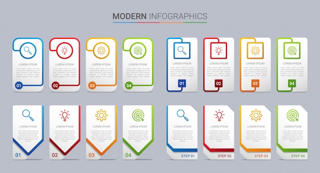 Kleurrijke tijdlijn infographic sjabloon met 4 stappen