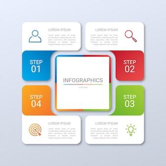Kleurrijke tijdlijn infographic sjabloon met stappen op grijze achtergrond,