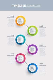 Kleurrijke tijdlijn infographic sjabloon