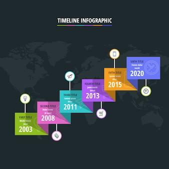 Kleurrijke tijdlijn infographic