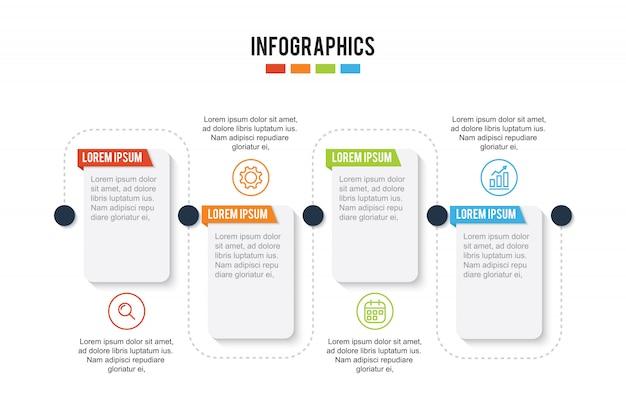 Kleurrijke tijdlijnpresentatie infographic met 4 stappen
