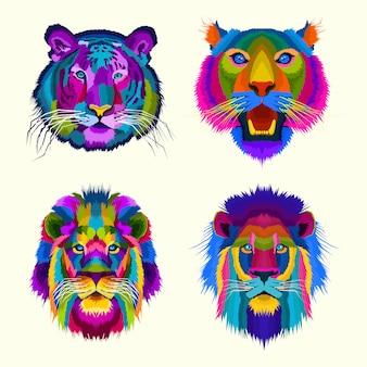 Kleurrijke tijger en leeuwenkoning