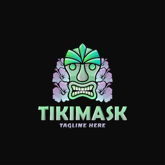 Kleurrijke tiki mask logo design vector illustration