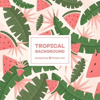 Kleurrijke tropische achtergrond in vlakke stijl