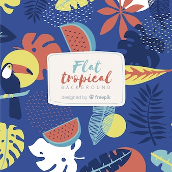 Kleurrijke tropische achtergrond met bladeren en bloemen