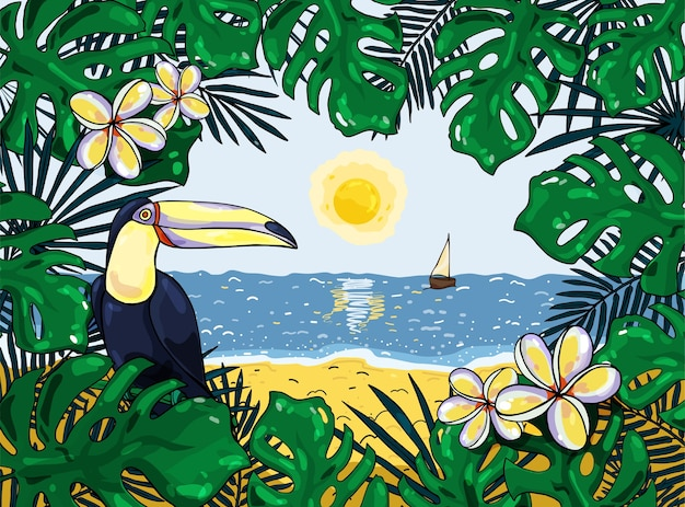 Kleurrijke tropische achtergrond met toucan. illustratie. voor spandoeken, posters, ansichtkaarten en flyers.