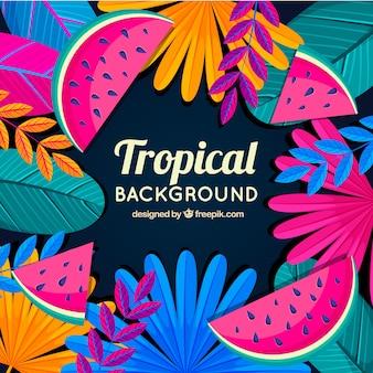 Kleurrijke tropische bladeren achtergrond