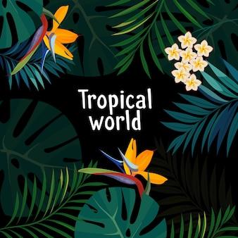 Kleurrijke tropische bloem, plant en blad patroon achtergrond.