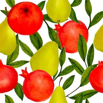 Kleurrijke tropische natuurachtergrond met handgetekende granaatappels, peren en bladeren