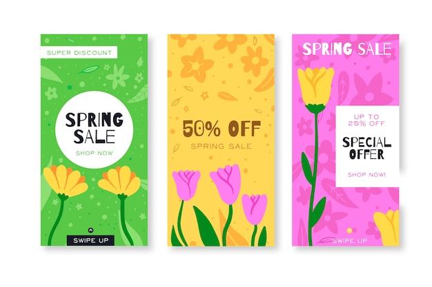 Kleurrijke tulpen lente verkoop instagram verhalen collectie