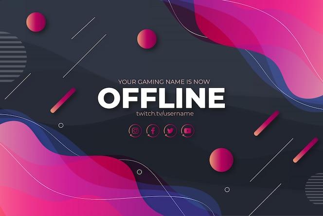 Kleurrijke twitch design banner offline