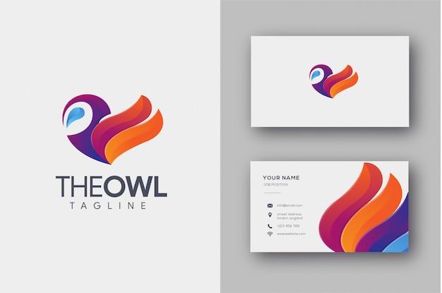 Kleurrijke uil logo en visitekaartjesjabloon
