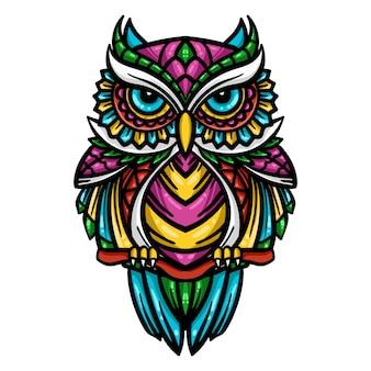 Kleurrijke uil zentangle kunstillustratie