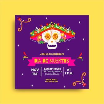 Kleurrijke uitnodiging van la catrina dia de muertos