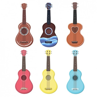 Kleurrijke ukulele collection