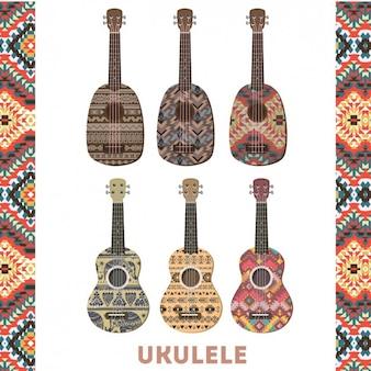 Kleurrijke ukulele set