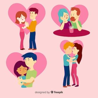 Kleurrijke valentijn paar set
