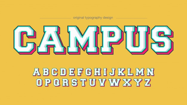 Kleurrijke varsity slab serif artistic font