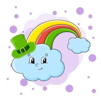 Kleurrijke vectorillustratie. regenboog in hoed. geïsoleerd op een abstracte achtergrond kleur.
