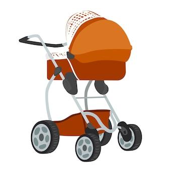 Kleurrijke vectorillustratie van bruin gekleurde kinderwagen in moderne stijl