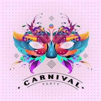 Kleurrijke vectorillustratie van carnaval masker