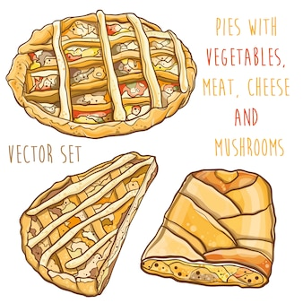 Kleurrijke vectorillustratie van taarten met vulling: groenten, vlees, kaas en champignons. set.