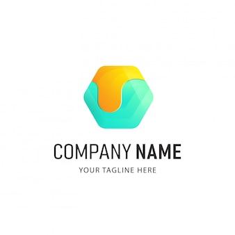 Kleurrijke veelhoek logo design illustratie