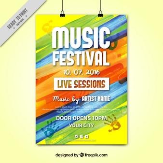 Kleurrijke verf festival poster