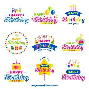 Kleurrijke verjaardag badges