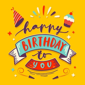 Kleurrijke verjaardag belettering