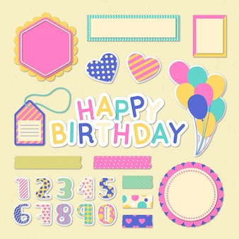 Kleurrijke verjaardag plakboekcollectie