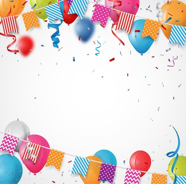 Kleurrijke verjaardagsballon met bunting vlaggen en confetti achtergrond