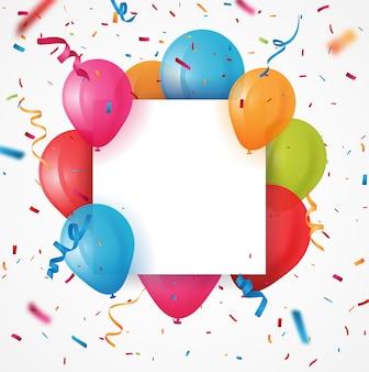Kleurrijke verjaardagsballon met confetti achtergrond