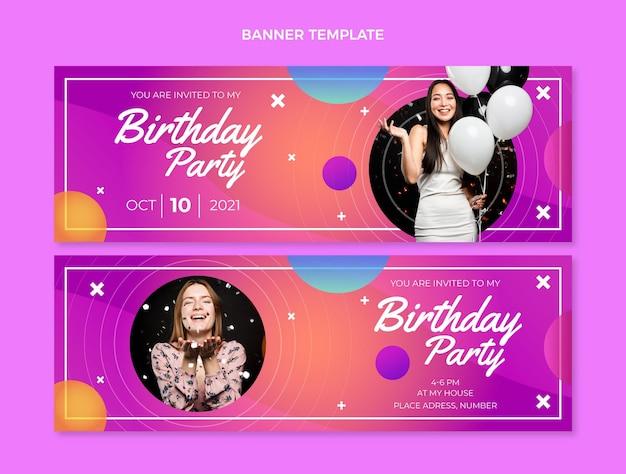 Kleurrijke verjaardagsbanners met kleurovergang horizontaal