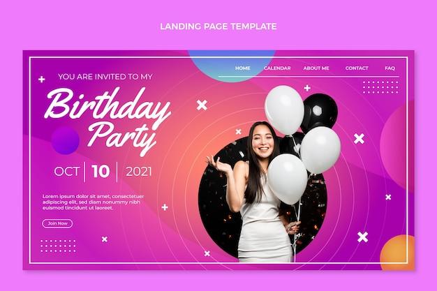 Kleurrijke verjaardagsbestemmingspagina met kleurovergang