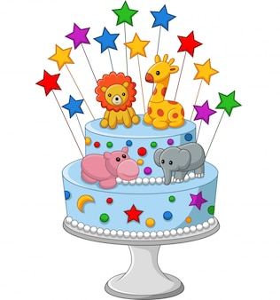Kleurrijke verjaardagscake
