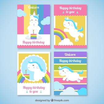 Kleurrijke verjaardagskaarten met eenhoorns