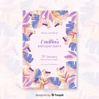 Kleurrijke verjaardagsuitnodiging met bloemen
