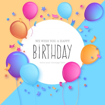 Kleurrijke verjaardagsuitnodiging Gratis Vector